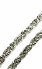 Vintage 925 Sterling Silver MARCASITE SET CHUNKY PATTERNED NECKLACE CHAIN 26.5g
