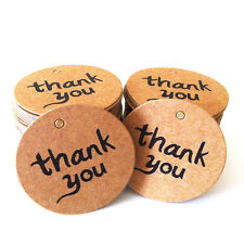 100x Creative Thank You Brown Kraft Paper Stickers Label Party Gift Packaging
