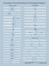 Universalbogen Schriftzüge Feuerwehr in weiß - Decal 1:87 HO - NEU in OVP