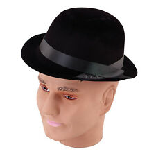 FLOCK BOWLER HAT THIN PLASTIC MATERIAL ADULT SIZE FANCY DRESS PARTY ACCESSORY