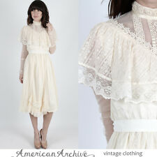 Vintage 70s Gunne Sax Dress Boho Wedding Sheer Floral Lace Cocktail Midi Mini M