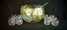 Punch Bowl & 12 Roly Poly FOSTORIA Iridescent Shell Mother of Pearl Loop Optic