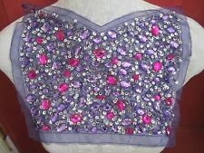 "12"" X 9"" Bead & Sequin ***JEWELED*** Neckline Bodice Applique PURPLE  FUCHSA"