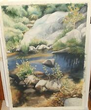 ANETTE CHULLOHU ROCKY RIVER CANYON LANDSCAPE ORIGINAL WATERCOLOR PAINTING