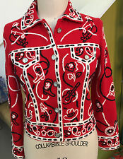 Michael Simon Western Cowboy Red Cardigan Embroidered Sweater