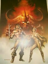 CONAN HORNED BEAST 16 X 25 LITHOGRAPH BORIS VALLEJO 1ST TEAM COMIC POSTER 1988