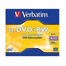 VERBATIM DVD + RW 4.7gb 120min (4x) 43228 DVD RISCRIVIBILI VUOTI RISCRIVIBILI DVD a disco