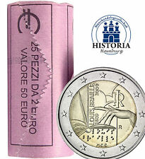 25 x Italia 2 euro moneta da 2009 BFR. Braille di Louis Braille ruolo