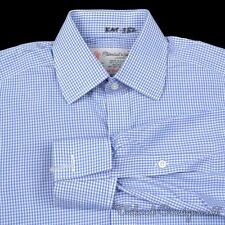 TURNBULL & ASSER Blue Gingham Check Sea Island Cotton Luxury Dress Shirt - 14.5