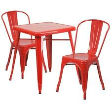 RED METAL INDOOR-OUTDOOR TABLE SET WITH 2 STACK CHAIRS