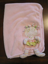 Maison Chic Crazy Doll Olivia with Doll Front Plush Fleece Pink Blanket EUC