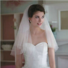 63v Charming Bridal Ivory Tulle Cut Edge Wedding Veil w/ Comb