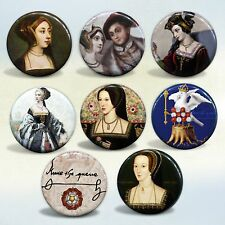 "Anne Boleyn ""The Most Happy"" Queen of England badges Set of 8 pin back buttons"