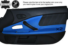 BLACK PERFORATED & BLUE LEATHER 2X DOOR CARD TRIM COVER FITS HONDA S2000 04-09