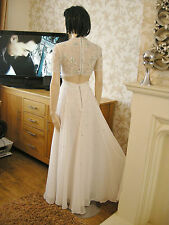 8 PETITE ASOS IVORY CHIFFON JEWEL MAXI DRESS BRIDAL ? FLOATY VINTAGE WEDDING