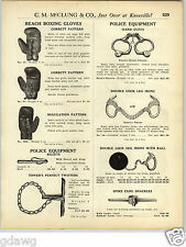 1925 PAPER AD Double Lock Leg Irons With Ball Chain Spike Clog Shackles Handcuff