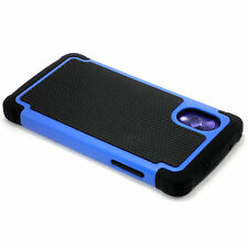 New Blue And Black Heavy Duty Case Cover + Screen Guard For LG Google Nexus 5