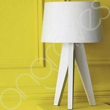 Tripod Table Lamp White Wood & Linen Shade Light Lighting