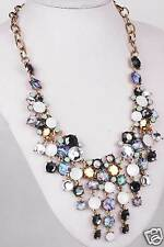 New Design huge Lady Statement crystal multi chunky chain charm  necklace Q1161