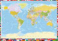 """LARGE World Map Poster WALL CHART With Country Flags Colour Litho34""""x 24"""" POSTER"""