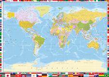 """GRANDE Mappa del mondo poster tabellone con bandiere del paese colore LITHO 34""""x 24"""" POSTER"""