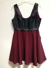 Women's Very J Faux Leather Bodice Empire Dress size Large Poly Spandex VGUC
