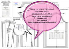 JAPANESE STYLE BODICE BLOCK-SIZES 8 TO 22  Design Your Own Patterns & Slopers !
