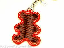 NWT Coach Brown Bronze Sequin Teddy Bear Key Chain Ring Fob 92790 Purse Charm