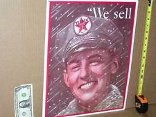 TEXACO - Gas Oil - BIG METAL SIGN - Shows Attendant Smiling - coming out in Snow