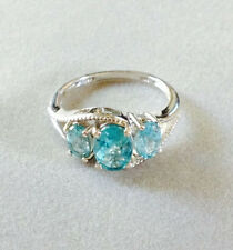2.09 CTS PARAIBA APATITE 3 STONE RING IN STERLING SILVER, PLATINUM OVERLAY SZ 7