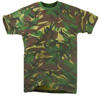 ARMY WOODLAND DPM CAMO T-SHIRT Mens XXL Military top khaki camouflage cotton tee