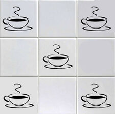 12 X COFFEE CUP WALL STICKERS /TILE DECALS TRANSFORM YOUR KITCHEN WALL/ BAR/ ect