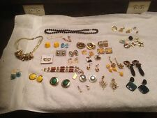 Lot 37 Vintage Costume Jewelry Bracelets Pins Earrings Button Covers Necklaces