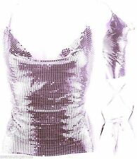 New Backless Shirt Halter Dark Pink AB Lilac Color Metal Mirrors Mesh Women Top
