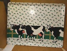 Keller Charles Melamine Serving Tray, Farm/Milk Cow Pattern, Italy (Used/EUC)
