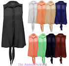NEW LADIES SHEER SLEEVELESS CHIFFON FRONT TIE BLOUSE SHIRT WOMENS TOP 8 10 12 14