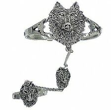 Wolf Slave Bracelet & Ring - Lead Free Pewter - Adjustable SCA Garb fnt