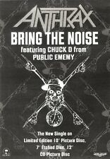 29/6/91 Pgn26 Advert: Anthrax Feat. Chuck D New Single bring The Noise 7x5