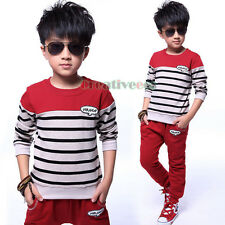Kid Boys Spring Fall Sport Outfits Striped T-shirt Harem Pants Children Sets New