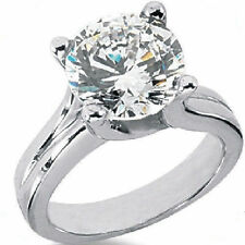 2 carat Round cut brilliant Diamond Solitaire 14k White Gold Ring F SI1