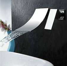 Contemporary Wall-mounted Waterfall Chrome Finish Bathtub  Bathroom Faucet Tap