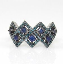 Sterling Silver 0.90ctw Blue Sapphire Blue Diamond Zig Zag Cluster Ring Size 5