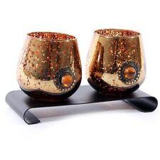 Kerzenhalter Teelichthalter Teelicht 2fach Glas kupferfarben
