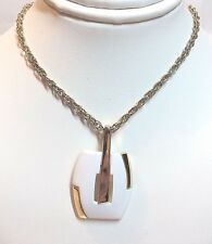 "Gold Plated Costume Jewelry Necklace w/ Painted Whilte Metal Pendant - 18"" Long"