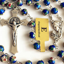 BLUE CLOISONNE ROSE BEADS ROSARY BEAD & ITALY CROSS CRUCIFIX CATHOLIC NECKLACE