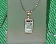 PURE  PLATINUM ~1~GRAM ~ STATUE  of  LIBERTY  BAR ~ 14~KT GOLD  PENDANT ~ $95.88