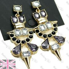 AZTEC rhinestone BIG EARRINGS crystal PURPLE/BLACK/GOLD SPIKE long chandelier