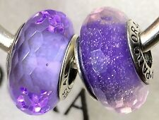 2X Authentic Pandora 925 ale  silver beads  charm PURPLE SHIMMER