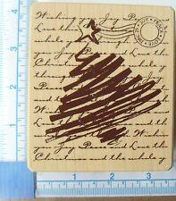Inkadinkado Christmas Tree & Background Wood mounted rubber stamp