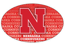 NEBRASKA BISON REPEAT PRINT OVAL MAGNET-NEBRASKA CAR MAGNET-NEW FOR 2016!
